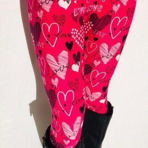 NEW Womens Valentines Day Heart YOGA Leggings